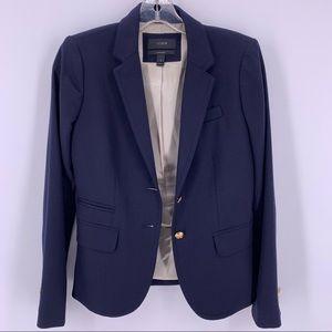 J Crew School Boy Wool Blazer Navy Blue Sz 0